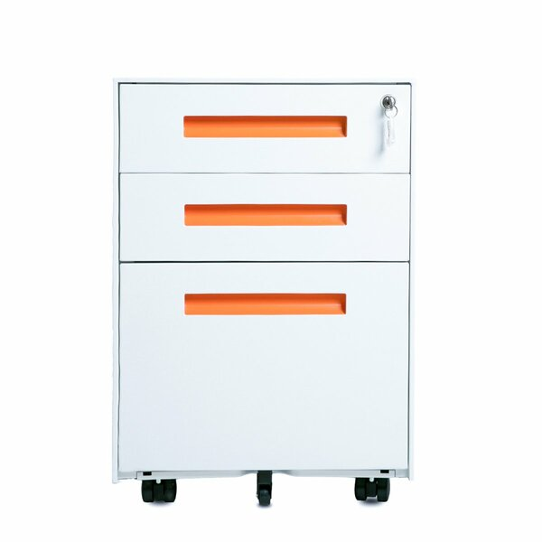 Metal 3-Drawer Mobile Vertical Filing Cabinet