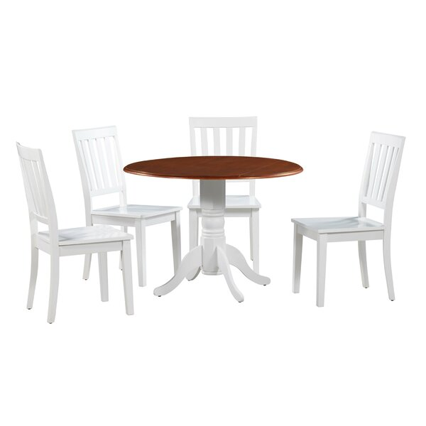 Chesterton Transitional 5 Piece Drop Leaf Solid Wood Dining Set By Alcott Hill Bargain