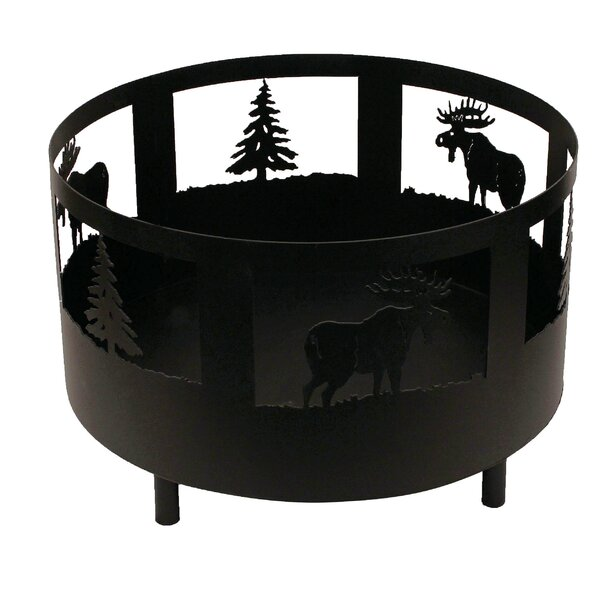 Moose and Tree Scene Metal Wood Burning Fire Pit by Coast Lamp Mfg.