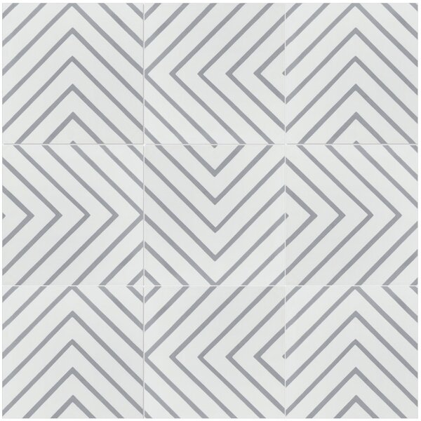 Labyrinth Misty 8 x 8 Cement Field Tile in Gray/White by Villa Lagoon Tile