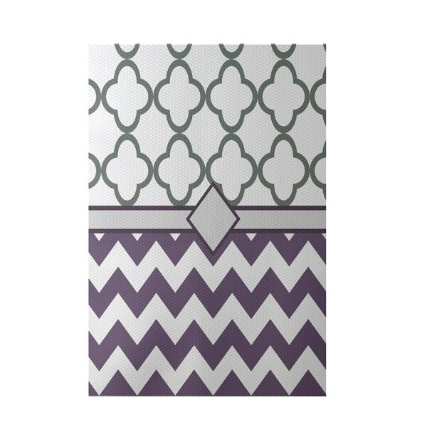 Express Line Geometric Print Purple Indoor/Outdoor Area Rug by e by design