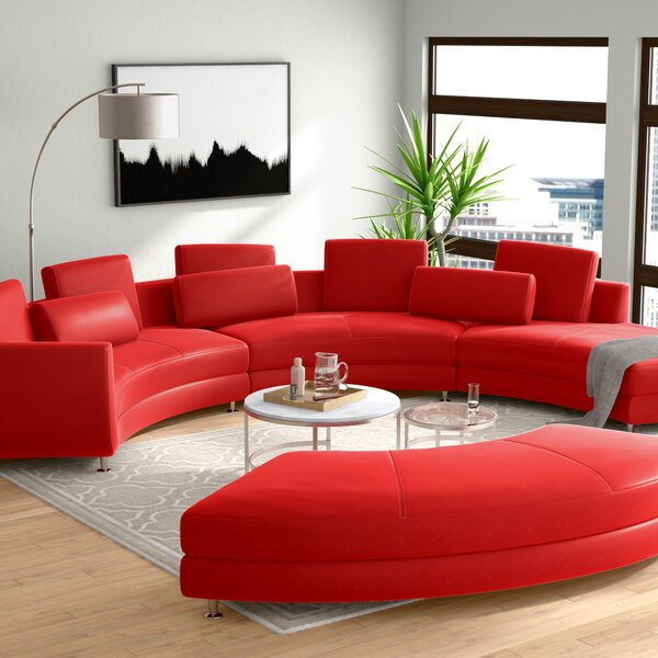 Cana Leather Modular Sectional with Ottoman by Orren Ellis