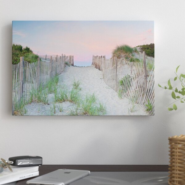 Crescent Beach Path Photographic Print on Wrapped Canvas by East Urban Home
