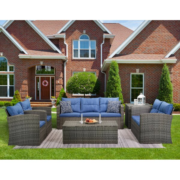 Andreau 6 Piece Rattan Sofa Seating Group with Cushions