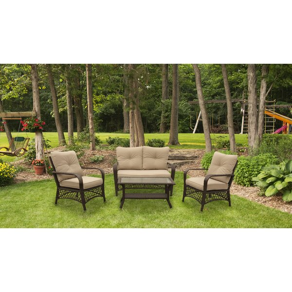 Hartwig 4 Piece Rattan Sofa Seating Group with Cushion by Bungalow Rose