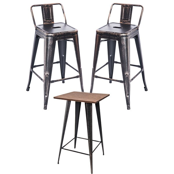 Cubbindall 3 - Piece Bar Height Bamboo Solid Wood Dining Set By Williston Forge