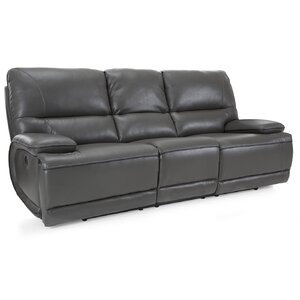 Akirah Leather Reclining Sofa Latitude Run