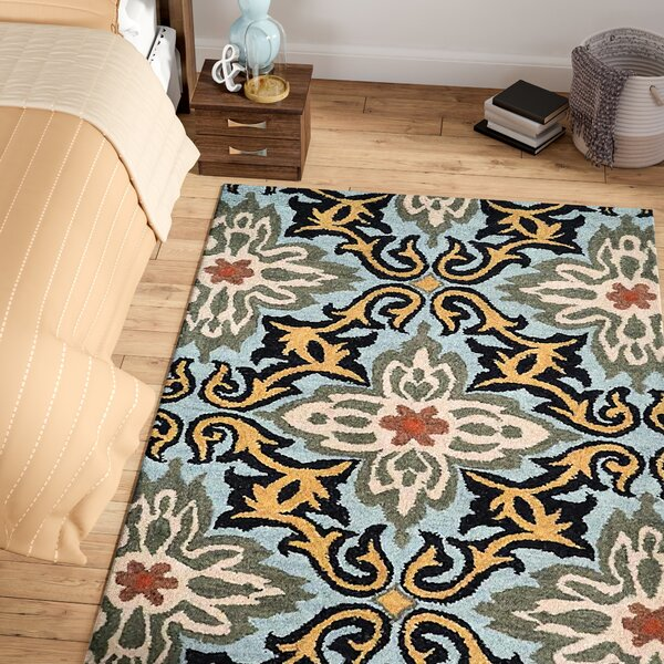 Linkwood Floral Hand-Tufted Wool Blue/Gray/Beiige Area Rug by Red Barrel Studio