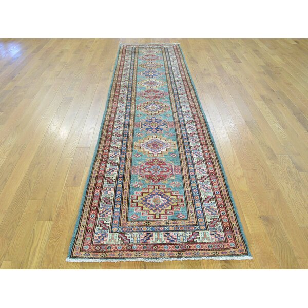 One-of-a-Kind Bechtold TribalGeometric Design Handwoven Teal Wool Area Rug by Isabelline