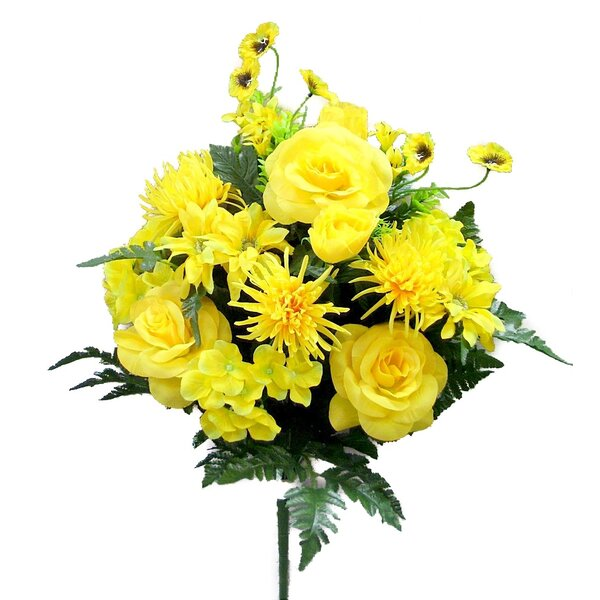 Artificial Rose, Hydrangea, Mum, Helenium, Pansy, Rose Bud, Bell Flower and Fillers Mixed Flower Bush by The Holiday Aisle