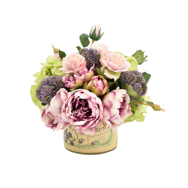 Mixed Peony and Rose Bouquet Floral Arrangement in French Pot by August Grove