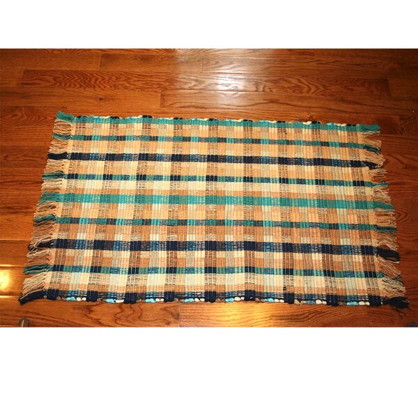 One-of-a-Kind Linmore Ticking Check Hand-Woven Navy Area Rug by Bay Isle Home