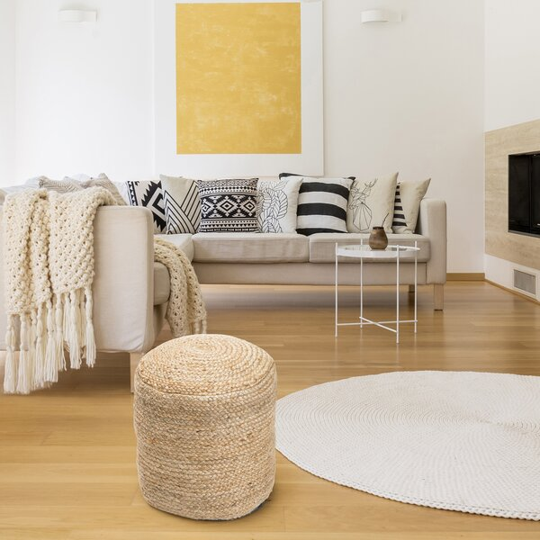 Rentschler Braided Hemp Pouf by Bungalow Rose