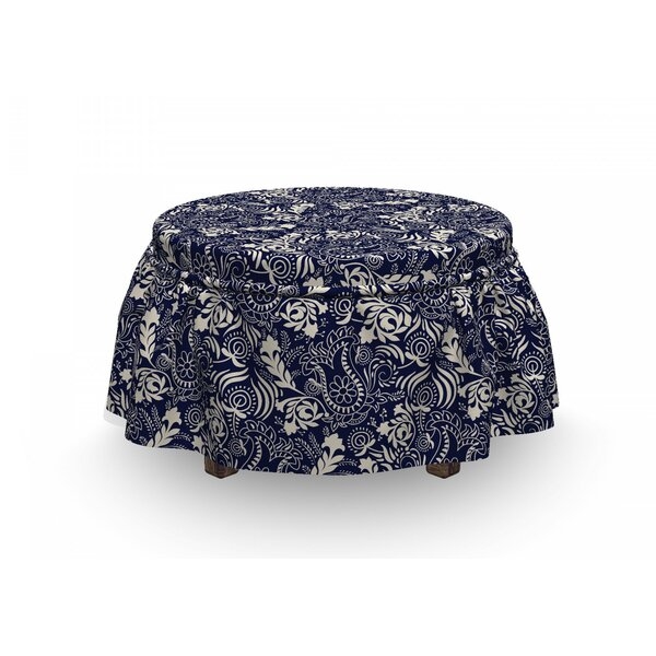 Read Reviews Curved Eastern Leaves Ottoman Slipcover (Set Of 2)