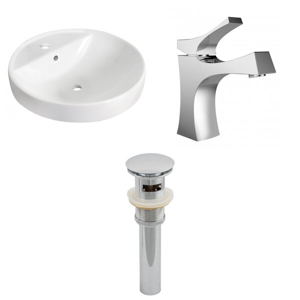 Ceramic Circular Drop-In Bathroom Sink with Faucet by American Imaginations