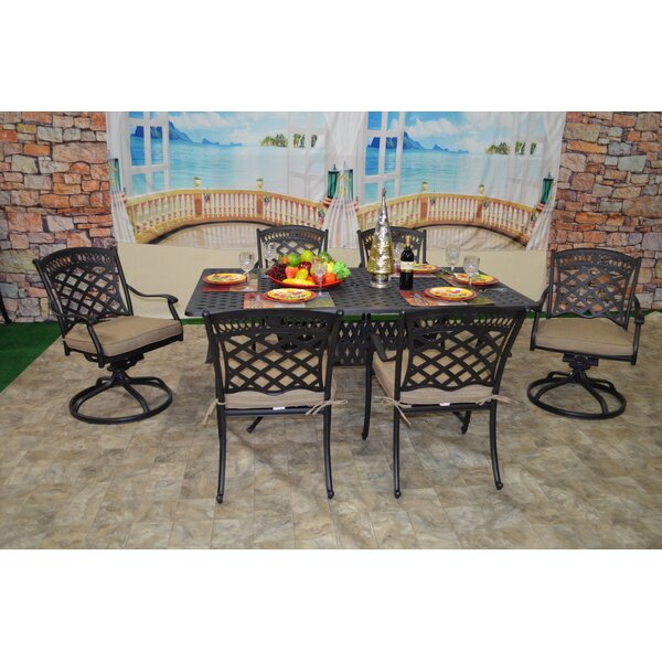 Wildermuth 7 Piece Sunbrella Dining Set with Cushions by Fleur De Lis Living