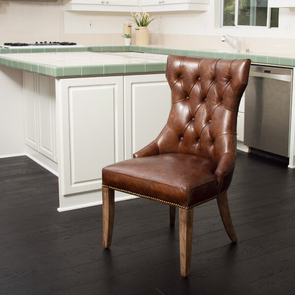 Orosco Genuine Leather Upholstered Dining Chair by Millwood Pines