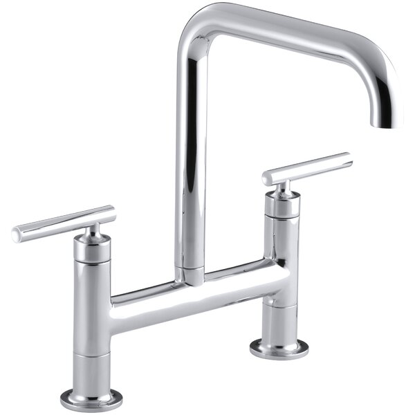 Purist Two-Hole Deck-Mount Bridge Kitchen Sink Faucet by Kohler