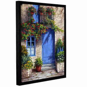Provence Blue Door Framed Painting Print on Wrapped Canvas by Charlton Home