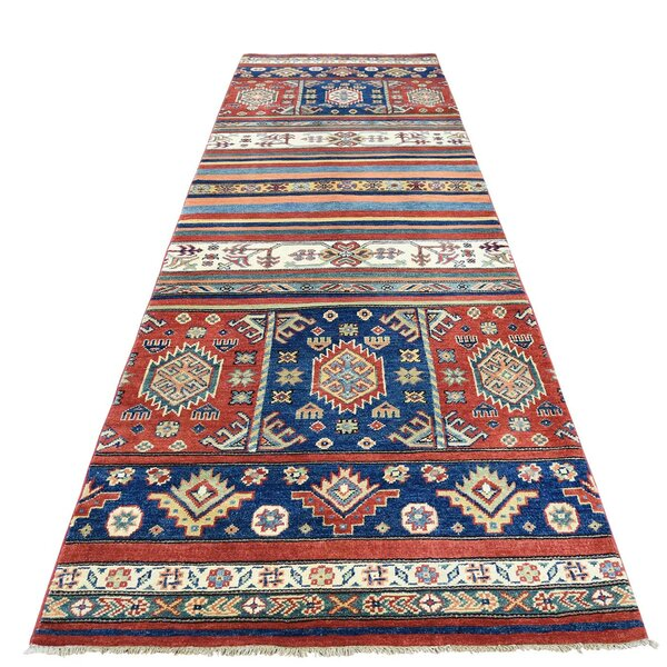 One-of-a-Kind Tillman Special Khorjin Hand-Knotted Blue/Red Area Rug by Millwood Pines