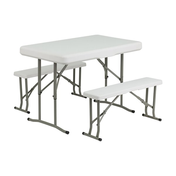 Springer Folding Table and Benches 3 Piece Dining Set by Freeport Park