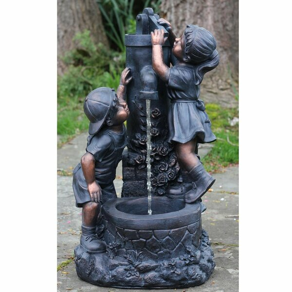 Polystone Children at the Water Pump Well Outdoor Water Fountain by Northlight Seasonal