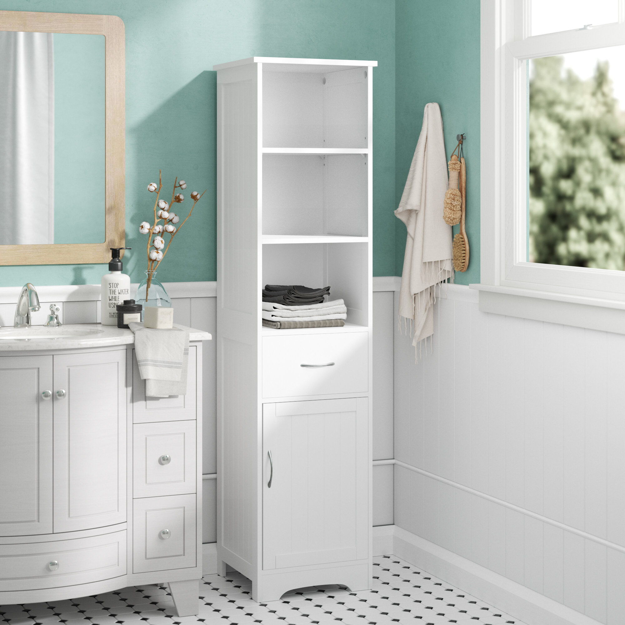 3 x 3cm Free Standing Tall Bathroom Cabinet