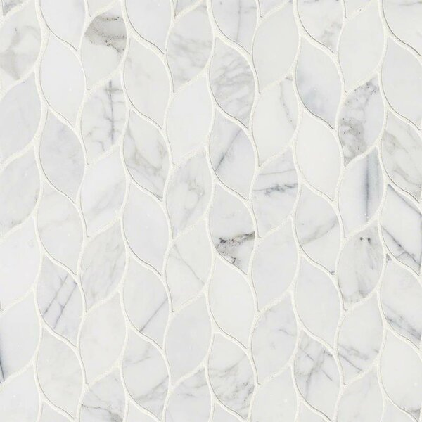 Calacatta Blanco Pattern Polished Marble Mosaic Tile in White by MSI