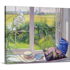 'Window Seat and Lily, 1991' by Timothy Easton Painting Print on Canvas by Great Big Canvas