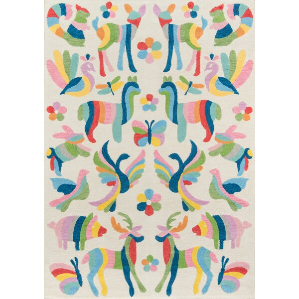 Crouch Hand-Hooked Cotton Multicolor Area Rug
