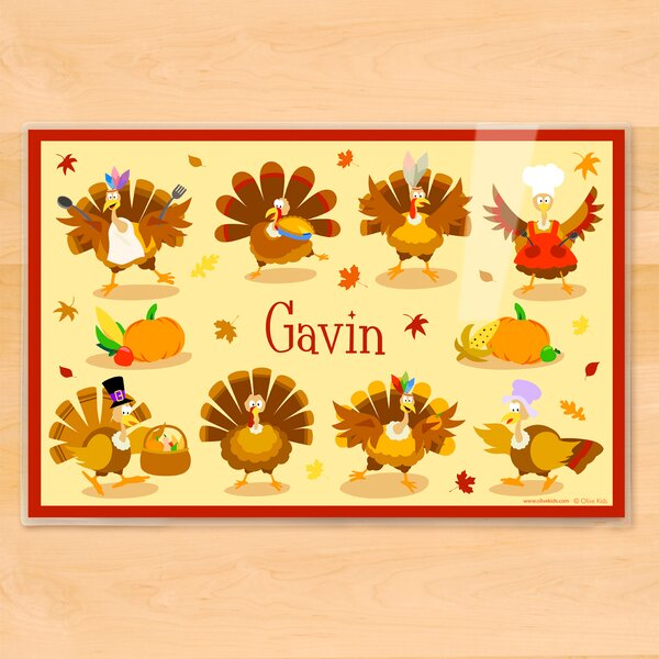 Thanksgiving Turkeys Personalized Placemat by Olive Kids