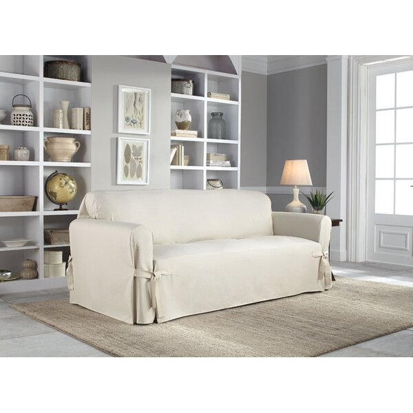 Cotton Duck Box Cushion loveseat Slipcover by Serta