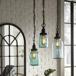 Mason jar ceiling light wayfair norgate mason jar mini pendant set set of 3 mozeypictures Images