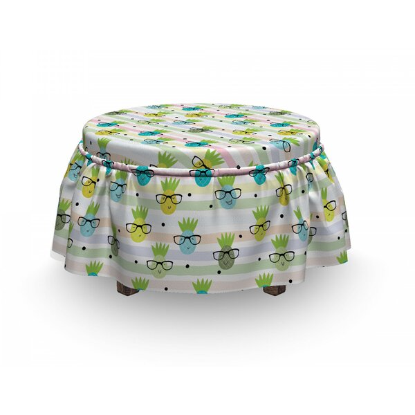 Funny Pineapple Glasses Ottoman Slipcover (Set Of 2) By East Urban Home