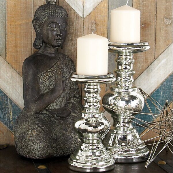 2 Piece Glass Candlestick Set by Cole & Grey