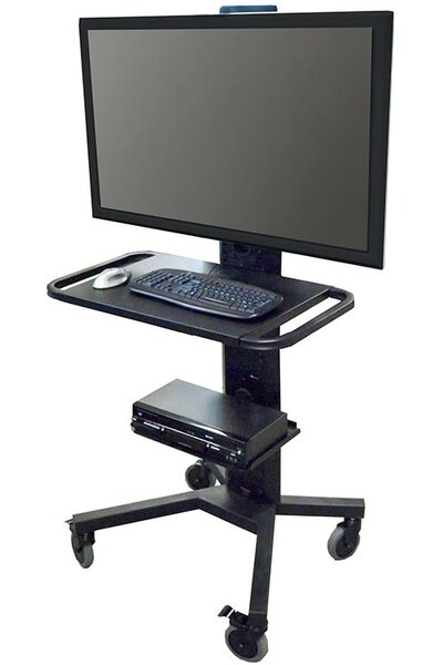 Mobile Tower AV Cart with Single Monitor Mount and Desktop/Shelf by VFI