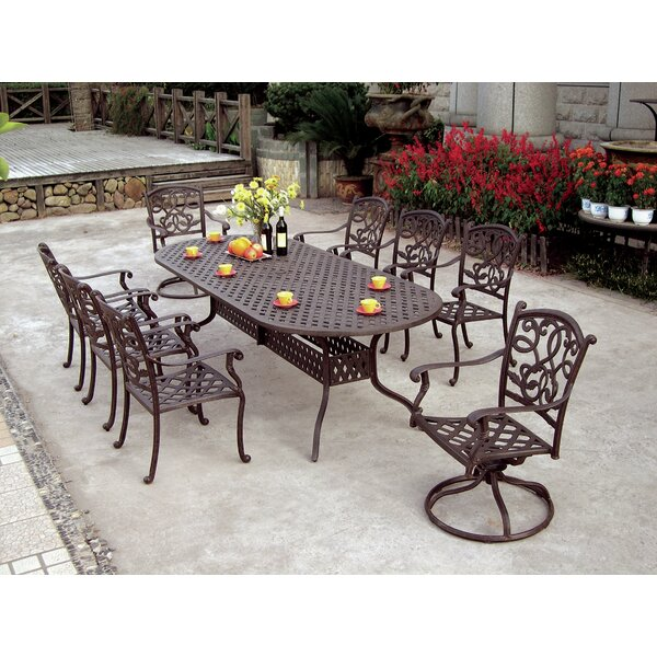 Calhoun 9 Piece Dining Set with Cushions by Fleur De Lis Living
