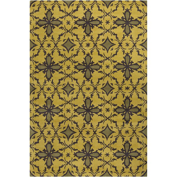 Fortson Hand Tufted Wool Gold/Dark Olive Green Area Rug by Bloomsbury Market