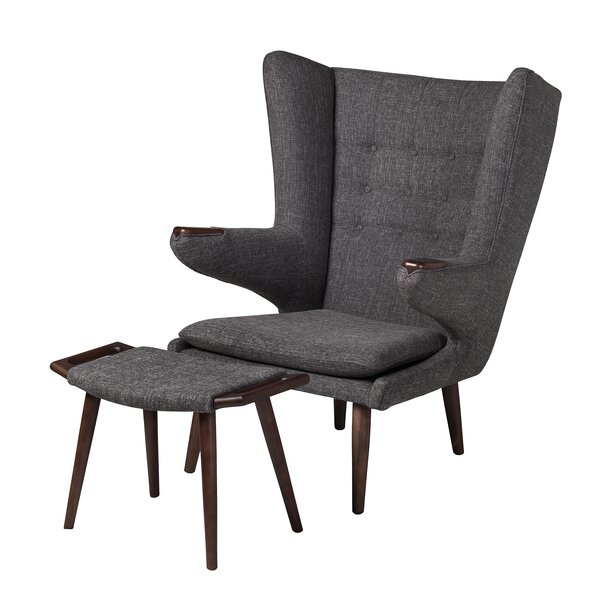 Papa Bear Wingback Chair and Ottoman by Design Tree Home