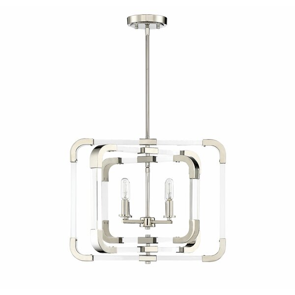 Haris 4 - Light Candle Style Square / Rectangle Chandelier by Ivy Bronx Ivy Bronx
