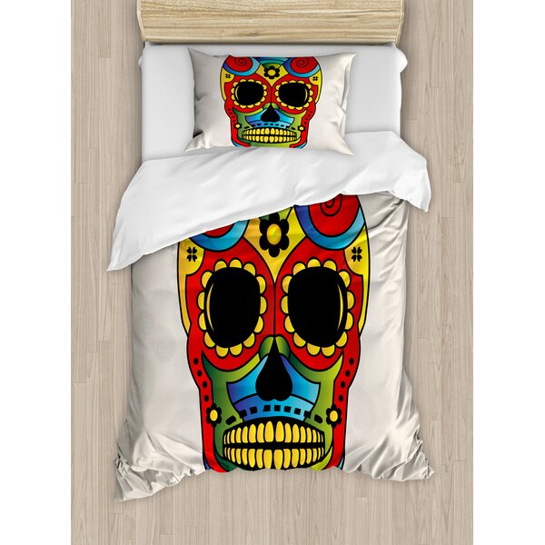 Sugar Skull Vibrant Figure Macabre Mexico Latin Tradition Mythical Religious Duvet Set by East Urban Home
