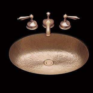 Compare prices Sculptured Metal Oval Dual Mount Bathroom Sink with Overflow By Bates & Bates