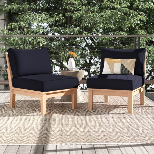 Anthony Outdoor Teak Patio Chair with Cushions (Set of 2) by Foundstone Foundstone