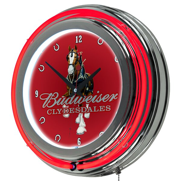Budweiser Clydesdale Neon 14.5 Wall Clock by Trademark Global