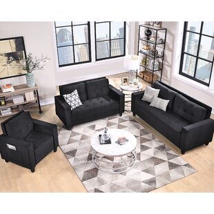 Sofa Set Morden Style Couch Furniture Upholstered Armchair, Loveseat And Three Seat For Home Or Office (Chair+Loveseat+Three Person Seat) by Latitude Run®