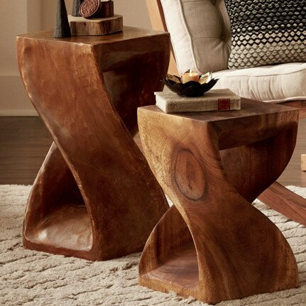2 Piece Handcarved Twisty Accent Stool Set by VivaTerra