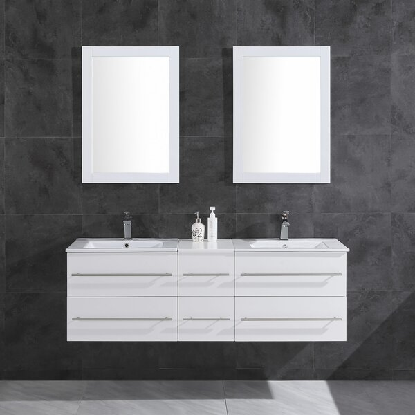 Morford 60 Wall-Mounted Double Bathroom Vanity Set with Mirror