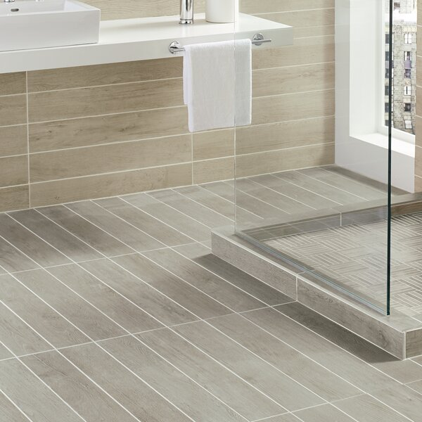 Harmony Grove 8 x 36 Porcelain Wood Look Tile in Oak Pewter by PIXL