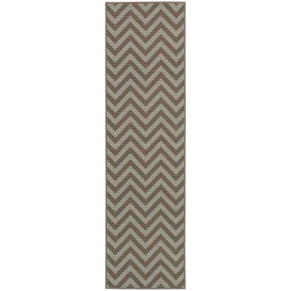 Heath Grey/Blue Chevron Indoor/Outdoor Area Rug by Ebern Designs