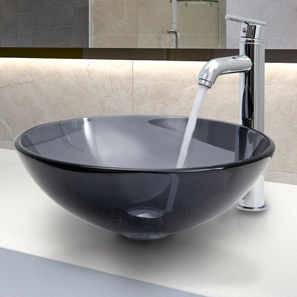 Tempered Glass Circular Vessel Bathroom Sink with Faucet by VIGO